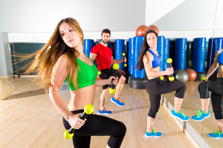 zumba dance cardio people group training at fitness gym workout exercise