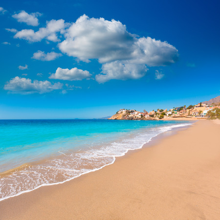 tourquoise: Bolnuevo beach in Mazarron Murcia at Mediterranean spain sea Stock Photo