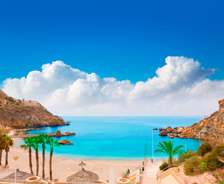 tourquoise: Cartagena Cala Cortina beach in Mediterranean Murcia at Spain