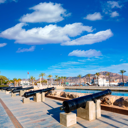 murcia: Cartagena cannon in naval museum with port at Murcia Spain