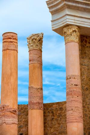 amphitheater: Ancient columns in Cartagena Roman Amphitheater at Murcia Spain