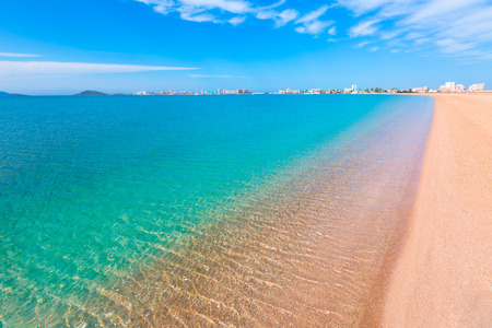 tourquoise: Playa Paraiso beach in Manga Mar Menor Murcia at Spain