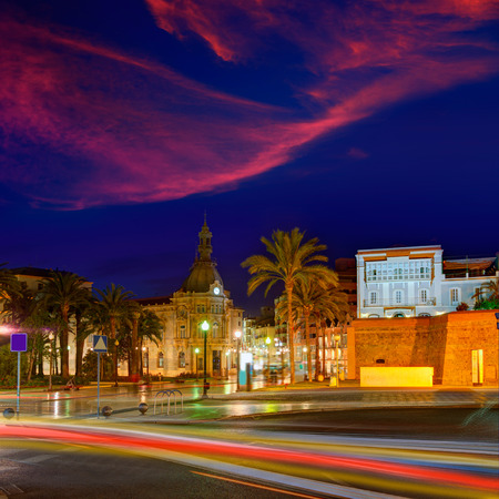 Ayuntamiento de Cartagena sunset city hall at Murcia Spain