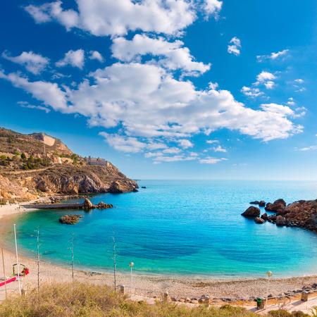Cartagena Cala Cortina beach in Mediterranean Murcia at Spain