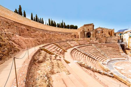 roman amphitheatre: Anfiteatro Romano de Cartagena en Murcia en Espa�a Foto de archivo