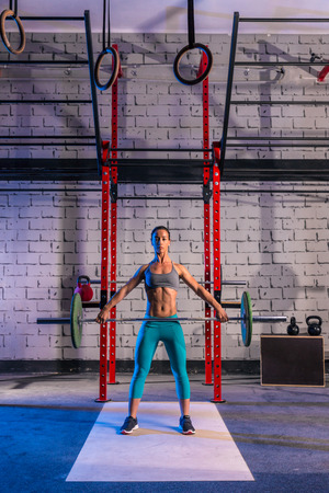 cross bar: Barbell weight lifting woman weightlifting workout exercise gym Stock Photo