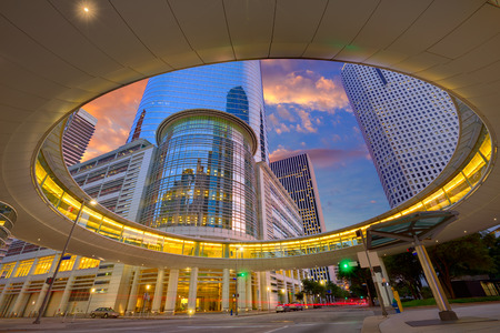 Houston Downtown sunset modern skyscrapers at Texas US USA Reklamní fotografie