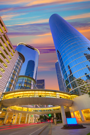 houston: Houston Downtown sunset modern skyscrapers at Texas US USA Stock Photo