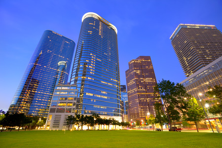 houston: Houston Downtown skyline sunset modern skyscrapers at Texas US USA