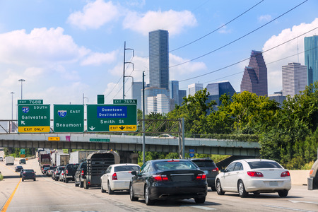 traffic building: Houston Fwy traffic 10 Interstate in Texas USA US