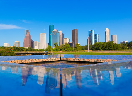 city park skyline: Houston skyline and Memorial reflection Texas USA US