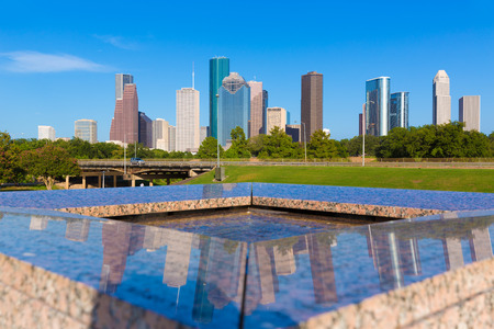 urban architecture: Houston skyline and Memorial reflection Texas USA US