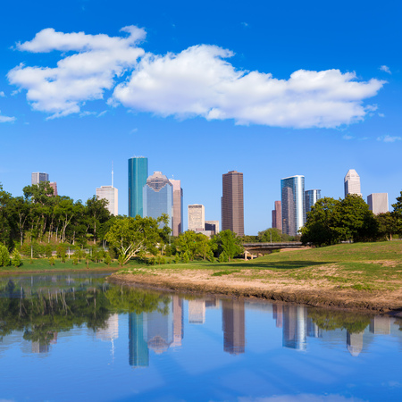 state park: Houston skyline from Memorial park at Texas USA US