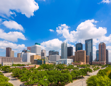 city and county building: Houston skyline from south in Texas US USA