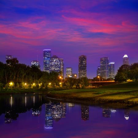 Houston Sonnenuntergang Skyline von Memorial Park in Texas USA Lizenzfreie Bilder