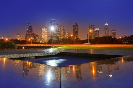 Houston coucher de soleil horizon du parc Memorial au Texas US Banque d'images