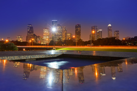 Houston sunset skyline from Memorial park at Texas US Stock Photo - 33677995