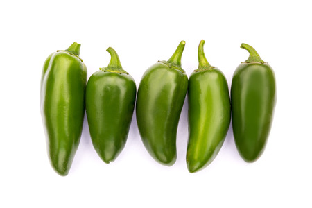 bush pepper: Chile Jalapeno hot chili pepper on white background Stock Photo