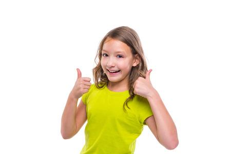 ok gesture thumb up gunny happy kid girl on white background Stock Photo