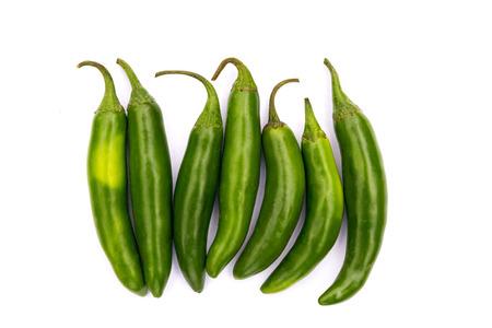 serrano: Chile Serrano hot chili pepper on white background