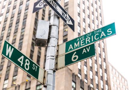 new way: Americas Avenue signs & W 48 st New York Manhattan US Stock Photo