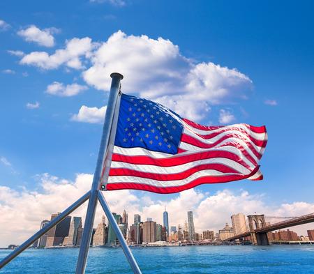 sights: Brooklyn Bridge and Manhattan skyline New York city sunshine US