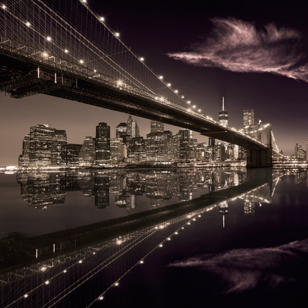 new york skyline: Brooklyn Bridge sunset New York Manhattan skyline NY NYC USA Stock Photo
