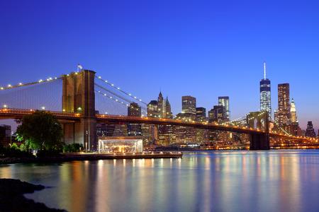 ny: Brooklyn Bridge sunset New York Manhattan skyline NY NYC USA Stock Photo