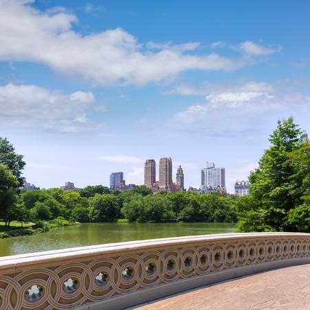 central park: Central Park The Lake Bow Bridge New York US Stock Photo
