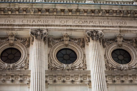 Manhattan New York chamber of commerce facade and columns US Stock Photo