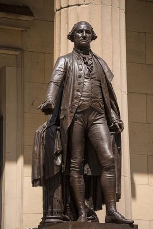 george washington statue: New York Federal hall Memorial George Washington Statue US Stock Photo
