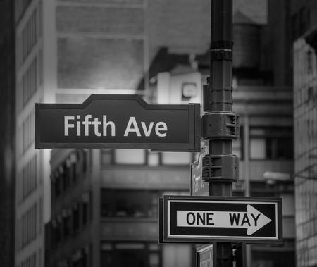 5th: Fift avenue sign 5 th Av New York Mahnattan USA black & white Stock Photo