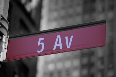 5th: Fift avenue red sign 5 th Av New York Mahnattan USA