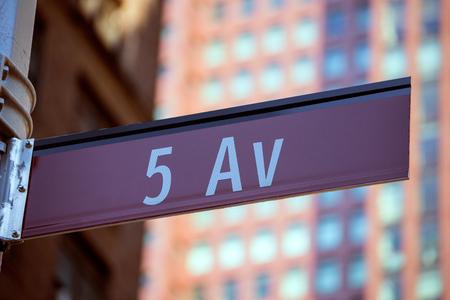 av: Fift avenue red sign 5 th Av New York Mahnattan USA