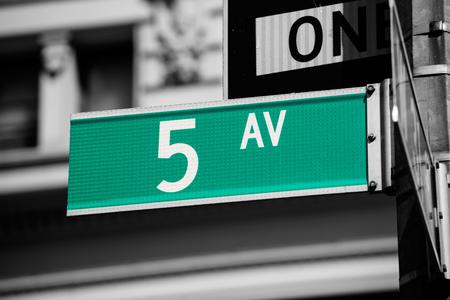 5th: Fift avenue green sign 5 th Av New York Mahnattan USA