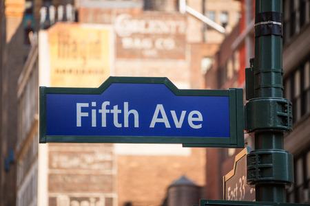 av: Fift avenue blue sign 5 th Av New York Mahnattan USA