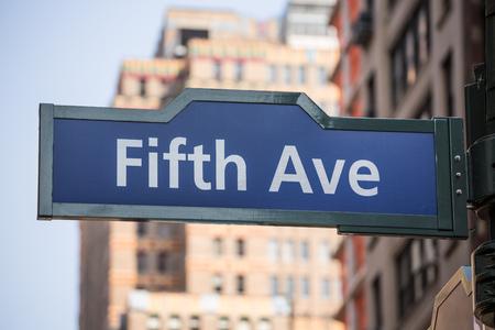 5th: Fift avenue blue sign 5 th Av New York Mahnattan USA
