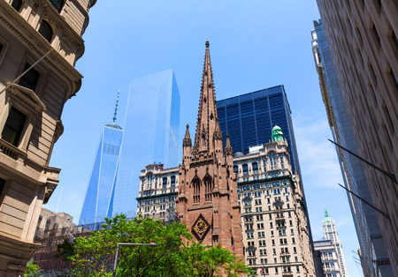 trinity: Trinity Church and Freedom Tower Manhattan NYC New York USA Stock Photo