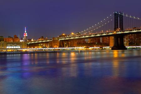Manhattan Bridge sunset New York NY NYC skyline USA Stock Photo