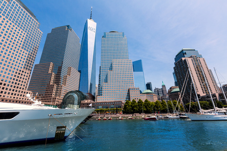 freedom tower: Freedom Tower from Harbor Manhattan New York City USA