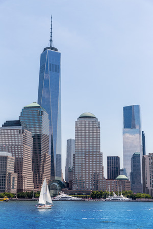 freedom tower: Manhattan New York skyline Freedom tower from Hudson River in USA US Stock Photo