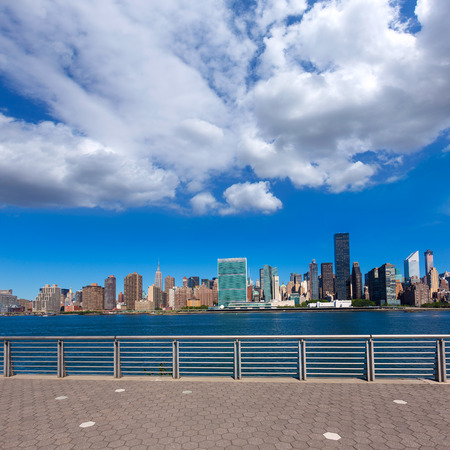 city center: Manhattan New York sunny skyline East River sunshine NYC USA