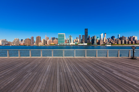 Manhattan New York sunny skyline East River sunshine NYC USA