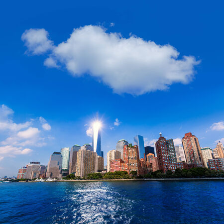 Manhattan skyline New York sunshine US blue sky photo