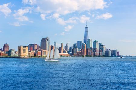 sailboat: Manhattan skyline New York sunshine US blue sky