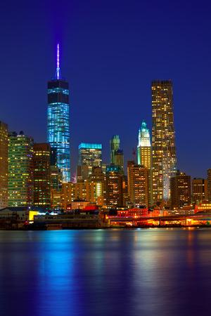 Puesta horizonte de Manhattan de Nueva York Nueva York Nueva York en EE.UU.
