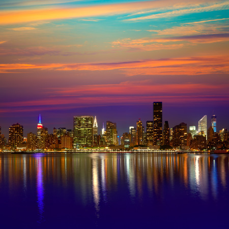 new york night: Manhattan New York skyline at sunset dusk from East River NYC USA
