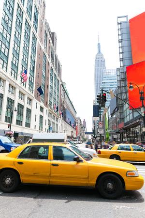 yellow: Manhattan New York New York city Yellow cab taxi downtown NYC US Stock Photo