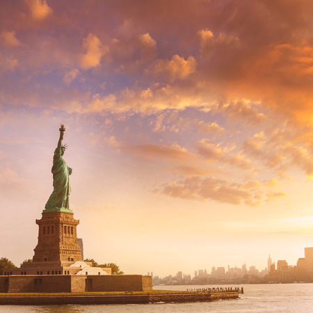 liberty statue: Statue of Liberty New York Manhattan background USA US