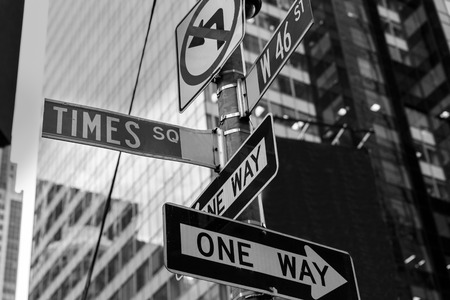new way: Times Square signs & W 46 st New York daylight US